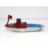 Tuk-Tuk Dampfboot weinrot-hellblau
