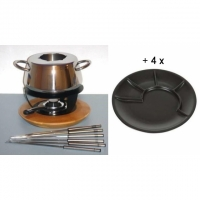 """Fondue Bourguignonne-Set """"Bamboo"""" + 4 Stk. Gourmetteller Kaltenbach"""