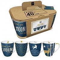 4 Henkeltassen Mugs Set BlueMix Gold & Blue