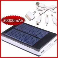 USB Solar Ladegerät mit Akku 30000mAh + 4 Adapter