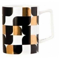 "6 Stk. Tassen / Mugs von S&P ""black & gold tiles"""
