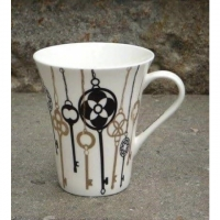 "6 Stk. Tassen / Mugs von S&P ""Black + Gold Keys"""